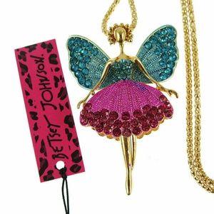 Enamel Crystal Angel Necklace